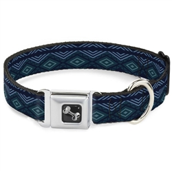 Aztec 3 Blues Seatbelt Buckle Dog Collar and Lead by Buckle-Down