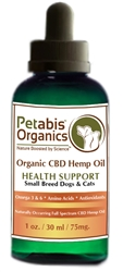 Petabis™ Organics 75 MG Organic CBD Hemp Oil, 1oz bottle.