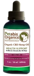 Petabis™ Organics 600 MG Organic CBD Hemp Oil, 1oz bottle