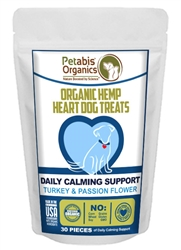 Petabis™ Organics Calming Hemp Hearts Treats - TURKEY & PASSION FLOWER & CAROB 30 pieces