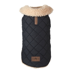 Black Quilted Shearling Dog Coat