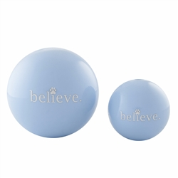 "4"" Believe Orbee-Tuff® Holiday Ball - Light Blue"