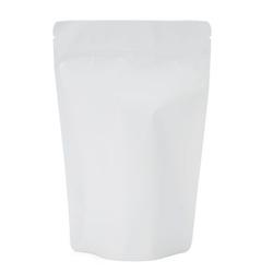 Matte White Metallized Zipper Pouch Gusset Bag (approx. 8 oz) - 100 pack -