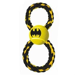 Buckle-down Superman or Batman Rope with ball Dog Toy