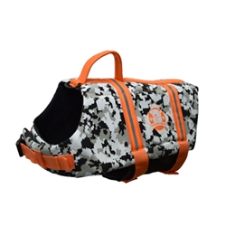 Doggy Life Jacket - Grey Camo/Orange