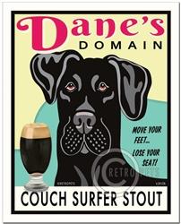 Dane's Domain (Black Great Dane) Couch Surfer Stout Art Print