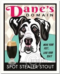 Dane's Domain (Harlequin Great Dane) Spot Stealer Stout Art Print