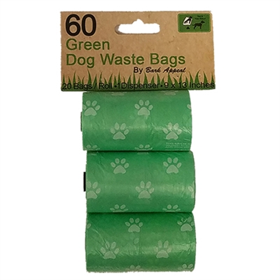 3 Pack 60 Green Dog Waste Bags
