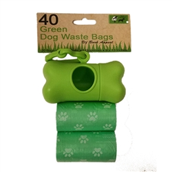 2 Pack 40 Green Dog Waste bags With Dispenser