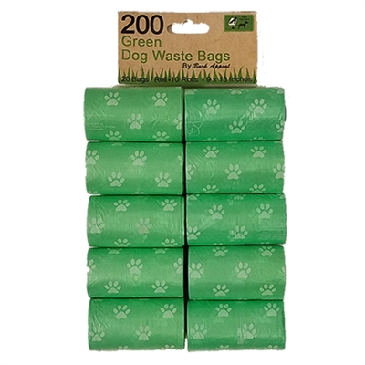 10 Pack 200 Green Dog Waste Bags