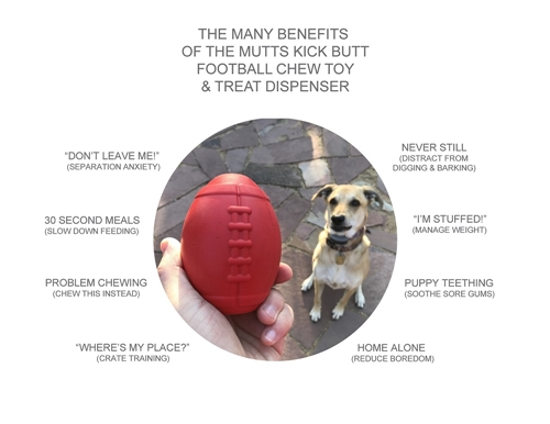 MuttsKickButt by SodaPup - Natural Rubber Football Treat Ball - Chew Toy - Treat Dispenser - Slow Feeder - Made in USA - For Heavy Chewers - Red - Large