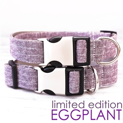 Purple Eggplant Linen Dog Collar - with optional bowtie - Limited Edition Color