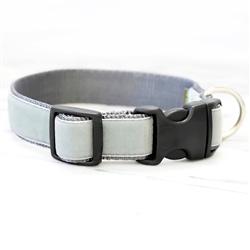 'Rueben' Light Grey Velvet Collars & Leashes
