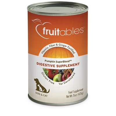 Fruitables Pumpkin Digestive Supplement for Dogs & Cats (12 Cans Per Case)