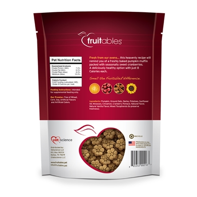 Fruitables Pumpkin & Cranberry Dog Treats - 7 oz (8 Per Case)
