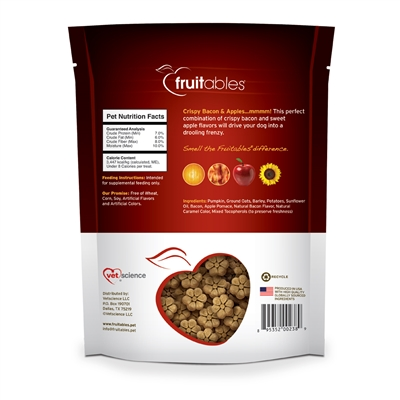 Fruitables Crispy Bacon & Apple Dog Treats - 7 oz (8 Per Case)