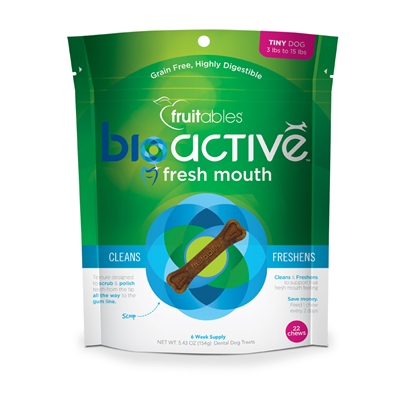 Fruitables Tiny BioActive Fresh Mouth Dental Chews - 22 count (8 Per Case)