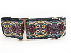 Kashmir Temple Red Extra Wide Martingale Dog Collar & Jet Black Velvet Leash