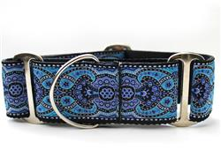Kashmir Peacock Blue Martingale Dog Collar
