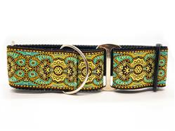 Kashmir Turkish Teal Extra Wide Martingale Dog Collar & Sable Brown Velvet Leash
