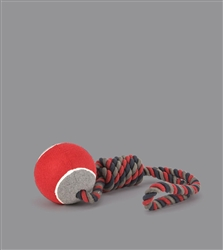 "NANDOG ""TUFF LOVE"" Tennis Ball And Rope Dog Toy red & gray"
