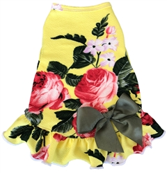 Vintage Rose with Satin Bow - Dress - Yellow