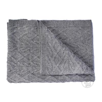"""Grey Alpaca Knit Blanket (23.5""""x 27.5"""")"""