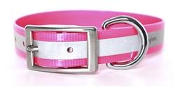 Waterproof Reflective Dog Collar -- Pink Biothane