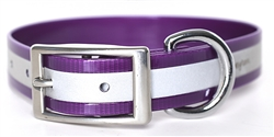 Waterproof Reflective Dog Collar -- Purple Biothane