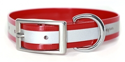 Waterproof Reflective Dog Collar -- Red Biothane