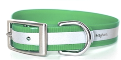 Waterproof Reflective Dog Collar -- Green Biothane