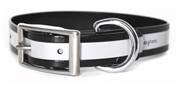 Waterproof Reflective Dog Collar -- Black Biothane