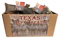 Texas Tuff Treats Wild Hog Hide Dog Chews 24 piece display box