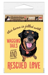 """Wagging Tails and Rescued Love Magnet 3.56"""" x 4.75"""""""