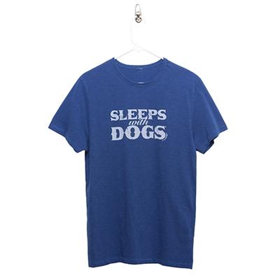 BARKOLOGY® SLEEPS WITH DOGS® UNISEX T-SHIRT - ROYAL BLUE