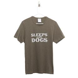 BARKOLOGY® SLEEPS WITH DOGS® UNISEX T-SHIRT - OLIVE