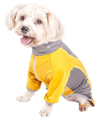 Pet Life® ACTIVE 'Warm-Pup' Heathered Performance 4-Way Stretch Two-Toned Full Body Warm Up