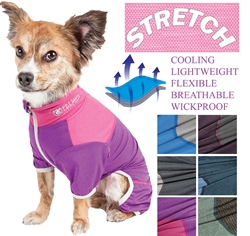 Pet Life® ACTIVE 'Embarker' Heathered Performance 4-Way Stretch Two-Toned Full Body Warm Up