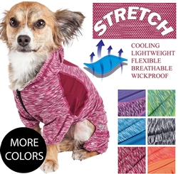 Pet Life® ACTIVE 'Downward Dog' Heathered Performance 4-Way Stretch Two-Toned Full Body Warm Up Hoodie