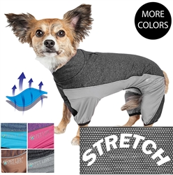 Pet Life® ACTIVE 'Chase Pacer' Heathered Performance 4-Way Stretch Two-Toned Full Body Warm Up