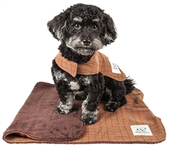 Touchdog 2-in-1 Windowpane Plaid Dog Jacket with Matching Reversible Dog Mat