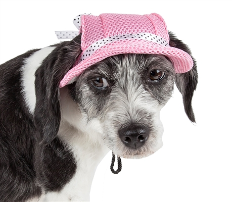 Pet Life® 'Sea Spot Sun' UV Protectant Adjustable Fashion Mesh Brimmed Dog Hat Cap
