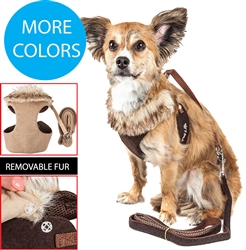Pet Life® LUXE 'Furracious' 2-in-1 Mesh Reversed Adjustable Dog Harness-Leash w/ Removable Fur Collar