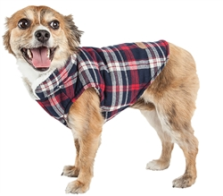 Pet Life® 'Puddler' Classical Black and Red Plaid Insulated Dog Coat