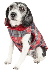 Pet Life® 'Scotty' Tartan Classical Red and Grey Plaid Insulated Dog Coat