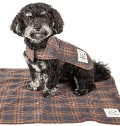 Touchdog 2-in-1 Windowpane Gray and Light Blue Plaid Dog Jacket with Matching Reversible Dog Mat