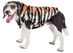 Pet Life® LUXE 'Tigerbone' Glamourous Tiger Patterned Mink Fur Dog Coat