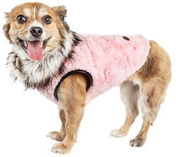 Pet Life® LUXE 'Pinkachew' Charming Designer Light Pink Mink Fur Dog Coat