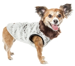 Pet Life® LUXE 'Purrlage' Pelage Designer Fur White and Brown Dog Coat
