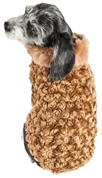 Pet Life® LUXE 'Furpaw' Shaggy Elegant Designer Coffee Brown and White Dog Coat